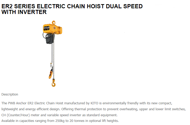 ER2 Series Electric Chain Hoist Dual Speed with Inverter
